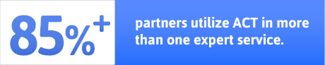 85%+ partners utilizes ACT in more than one expert service